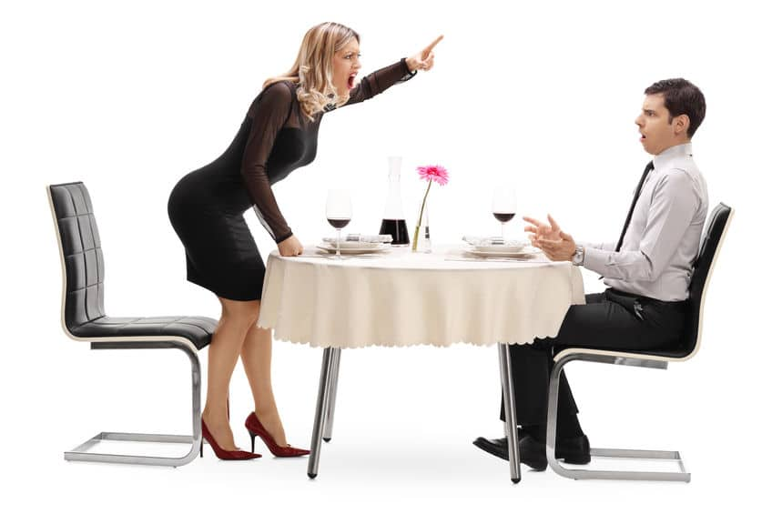 The woman scolding her partner while they are on a date