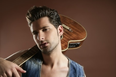 a handsome musician holding a guitar