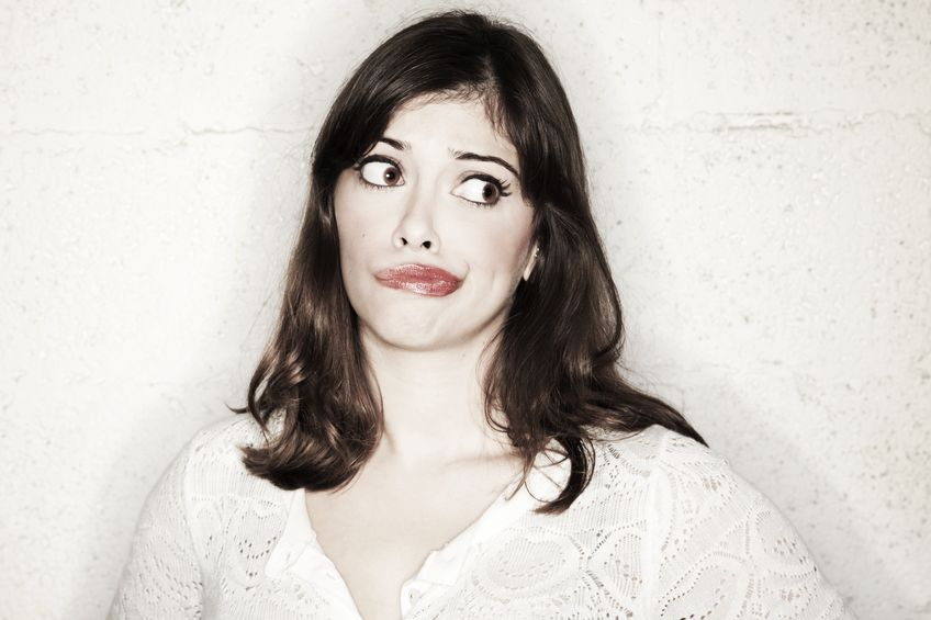 Photo of a woman with pouting her lips