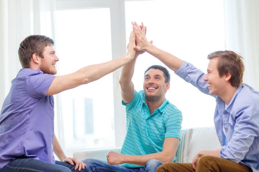 group of guys celebrating