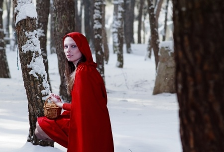 photo of a woman wearing a red riding hood costume
