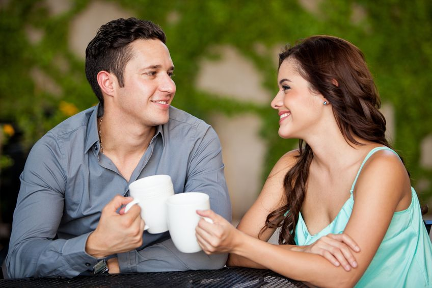 couple dating over a cup of coffee