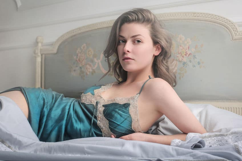 sexy young woman wearing lingerie on the bed