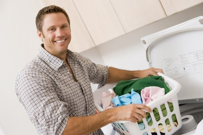 husband doing the laundry