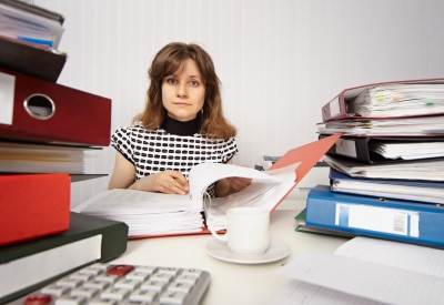 Female accountant busy working in the office