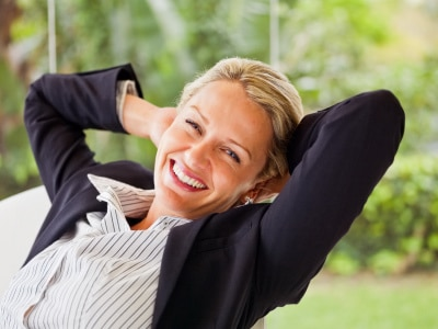 attractive mature business woman, smiling
