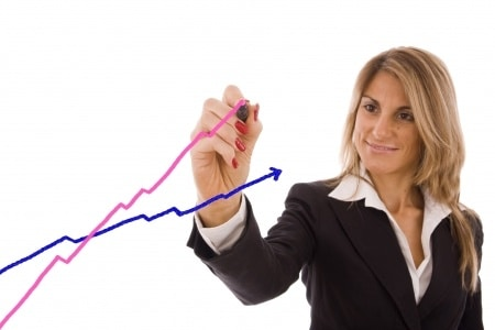 business woman creating a line graph