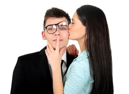girl kissing a man because they like woman who show affection