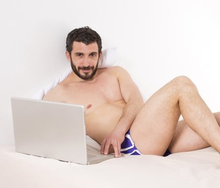 naked men chatting online and doing something creepy