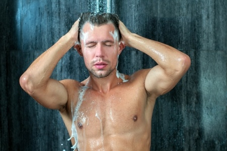 hot man taking a shower