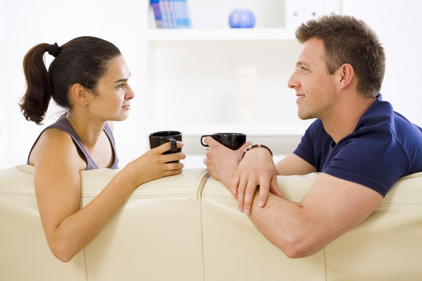 couple having a good coffee time