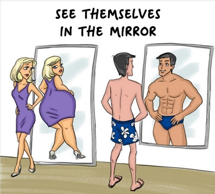 difference between how men and women see themselves in the mirror