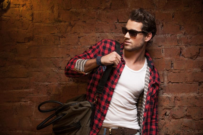 hot ex boyfriend wearing red checkered sleeves and shades