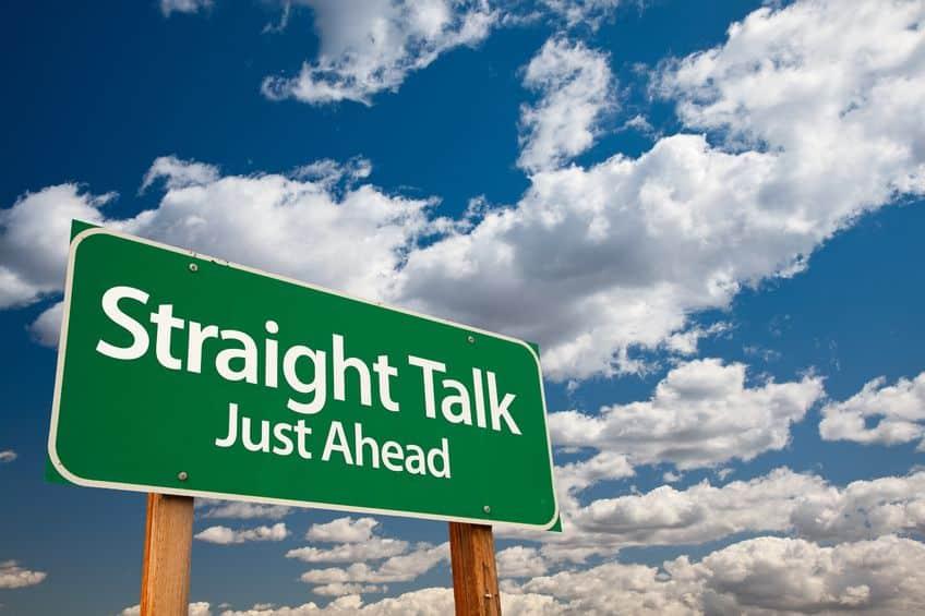 straight talk just ahead sign