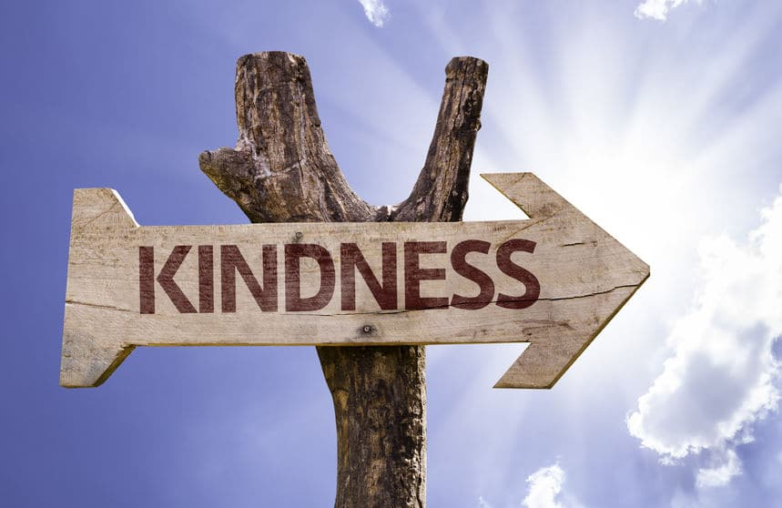 kindness sign with arrow on sunny background