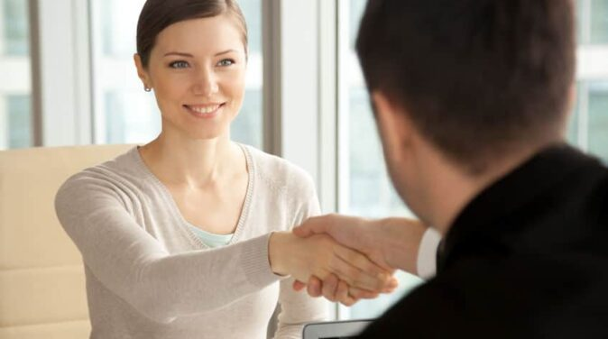 lovely woman making a great impression to her new guy