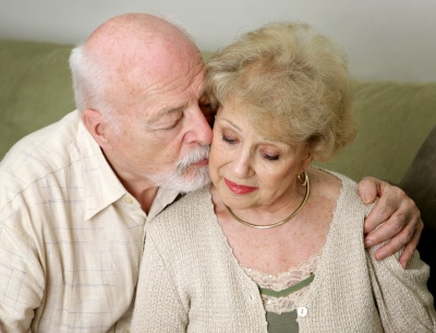 senior man and wife deeply in love