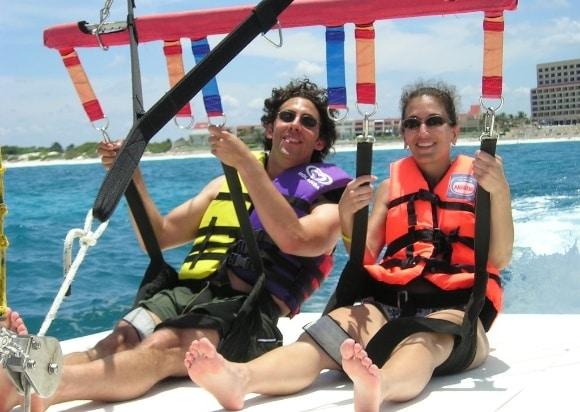 Evan Marc Katz with wife, parasailing