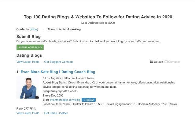 evanmarckatz.com on the top 100 dating blogs and websites list