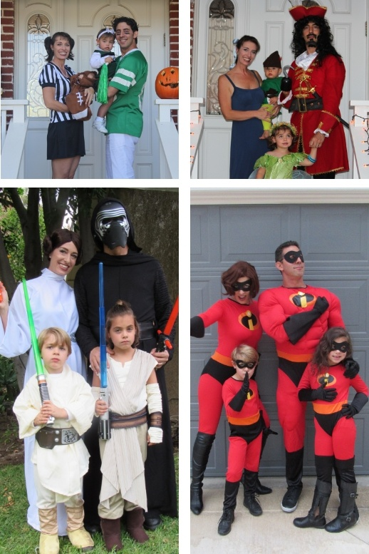 Evan Marc Katz family dressing up for halloween in 4 different ways