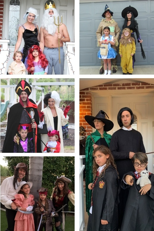 Evan Marc Katz with his wife and 2 kids in 5 different halloween costumes