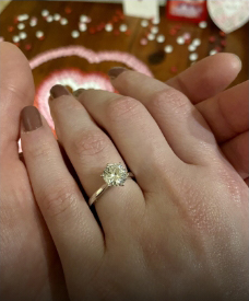 Love U love story of a strong successful woman showing her beautiful engagement ring