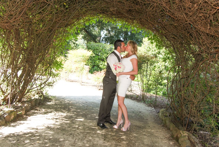 newly-wed couple kissing under an arc of dried stems