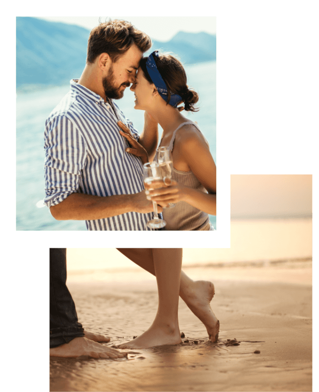 Love U success story of a happy couple getting romantic on the beach with a glass of champagne