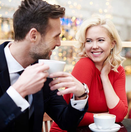 young couple having a coffee date