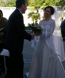 happy couple during their wedding ceremony