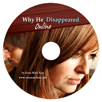 sad blonde woman thinking why his man disappeared online