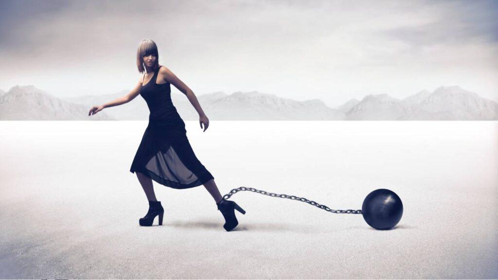 A woman feeling stuck